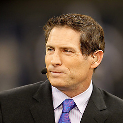 November 28, 2011; New Orleans, LA, USA; ESPN tv analysts Steve Young prior to kickoff of a game between the New Orleans Saints and the New York Giants at the Mercedes-Benz Superdome. Mandatory Credit: Derick E. Hingle-US PRESSWIRE