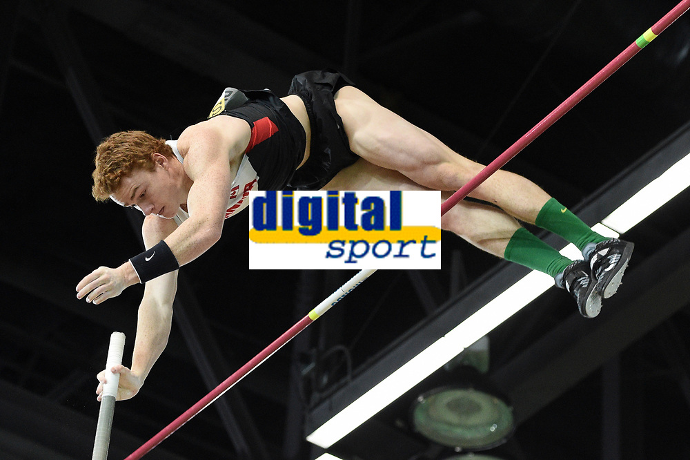 Shawnacy Barber from Canada competes to the pole vault men final during the IAAF World Indoor Championships at Oregon Convention Center, in Portland, USA, on March 17, 2016 - Photo Philippe Millereau / KMSP / DPPI