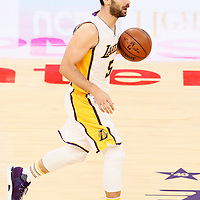 27 November 2016: Los Angeles Lakers guard Jose Calderon (5) brings the ball up court during the Los Angeles Lakers 109-94 victory over the Atlanta Hawks, at the Staples Center, Los Angeles, California, USA.
