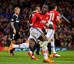 MANCHESTER, ENGLAND - Tuesday, March 13, 2018: Manchester United's Romelu Lukaku celebrates scoring his side's first goal to make it 1-3 during the UEFA Champions League Round of 16 2nd leg match between Manchester United FC and Sevilla FC at Old Trafford. (Pic by David Rawcliffe/Propaganda)