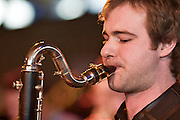 Dean Nixon on a Selmer Bass Clarinet with the Tom Richards Orchestra at the Friday Tonic concert in 2008. Frontroom, Queen Elizabeth Hall, Southbank Centre, London