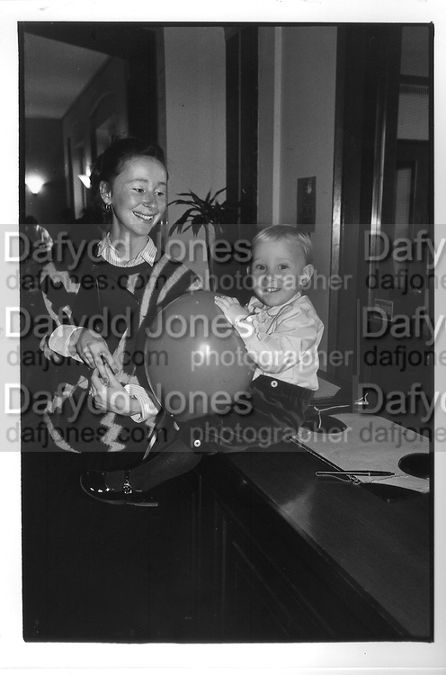 Mrs Michael Rice and Edward  Rice at the Birthright Childrens Ball Sussex Place 19/12/88 .ONE TIME USE ONLY - DO NOT ARCHIVE  © Copyright Photograph by Dafydd Jones 66 Stockwell Park Rd. London SW9 0DA Tel 020 7733 0108 www.dafjones.com