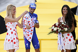 July 29, 2018 - Paris Champs-Elysees, France - PARIS CHAMPS-ELYSEES, FRANCE - JULY 29 : ALAPHILIPPE Julian (FRA) of Quick - Step Floors pictured on the podium  during stage 21 of the 105th edition of the 2018 Tour de France cycling race, a stage of 116 kms between Houilles and Paris Champs-Elysees on July 29, 2018 in Paris Champs-Elysees, France, 29/07/18 (Credit Image: © Panoramic via ZUMA Press)