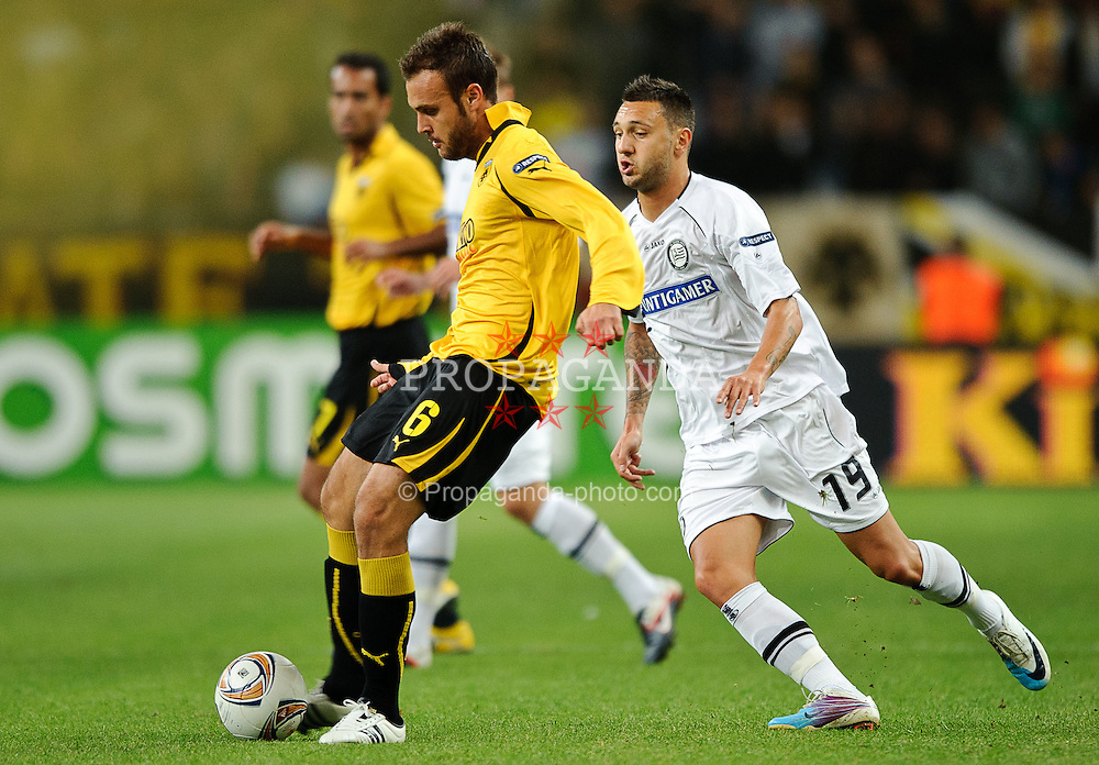 29.09.2011, Spiros Louis Stadium, Athen, GRE, UEFA EL, Gruppe L, AEK Athen (GRE) vs Sturm Graz (AUT), im Bild Cala, (AEK Athen, #6), Darko Bodul, (Sturm, #19) // during UEFA Europa League group L football game between AEK Athen (GRC) and Sturm Graz (AUT) at Spiros Louis Stadium in Athen, Greece on 29/09/2011. EXPA Pictures © 2011, PhotoCredit: EXPA/ S. Zangrando