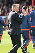 Brentford Head Coach Dean Smith applauding the fans after win during the Sky Bet Championship match between Brentford and Fulham at Griffin Park, London, England on 30 April 2016. Photo by Matthew Redman.