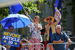 © Licensed to London News Pictures. 23/07/2019. London, UK. Anti-Brexit protesters outside QEII Centre as Boris Johnson elected as leader of the  Conservative Party and the new British Prime Minister. Dinendra Haria/LNP