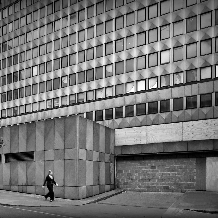A concrete office block off the Strand in London.