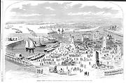 Civil War: Federal troops at Hampton, Virginia after it was burned. Harper's Weekley April 19, 1862