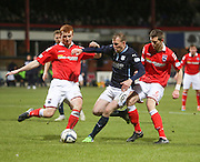 Ross County's Scott Boyd and Steven Saunders combined to deny Dundee's David Clarkson - Dundee v Ross County, SPFL Premiership at Dens Park<br /> <br />  - &copy; David Young - www.davidyoungphoto.co.uk - email: davidyoungphoto@gmail.com