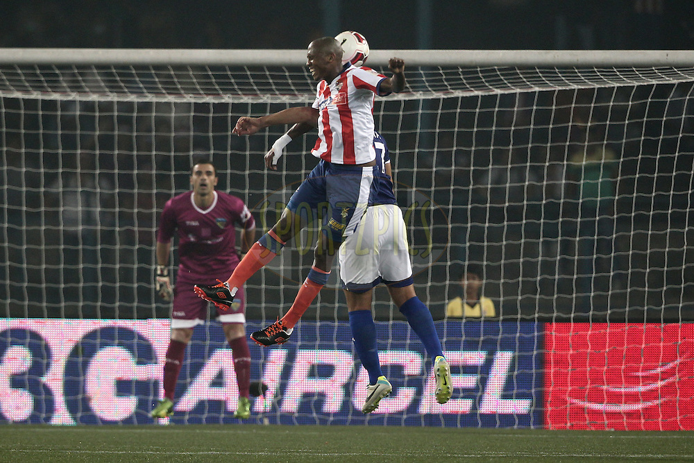 Ofentse Nato of Atletico de Kolkata in action during match 31 of the Hero Indian Super League between Atl&eacute;tico de Kolkata and Chennayin FC held at the Salt Lake Stadium in Kolkata, West Bengal, India on the 14th November 2014.<br /> <br /> Photo by:  Deepak Malik/ ISL/ SPORTZPICS