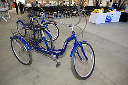 Bikes used by workers on display as Blu Homes opened their West Coast factory on Mare Island in Vallejo, California Dec. 1, 2011.  Over 400 guests attended a ribbon cutting ceremony at the 250,000-square-foot facility.
