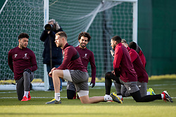 LIVERPOOL, ENGLAND - Monday, February 18, 2019: Liverpool's Alex Oxlade-Chamberlain, captain Jordan Henderson, Mohamed Salah, Georginio Wijnaldum during a training session at Melwood ahead of the UEFA Champions League Round of 16 1st Leg match between Liverpool FC and FC Bayern München. (Pic by Paul Greenwood/Propaganda)
