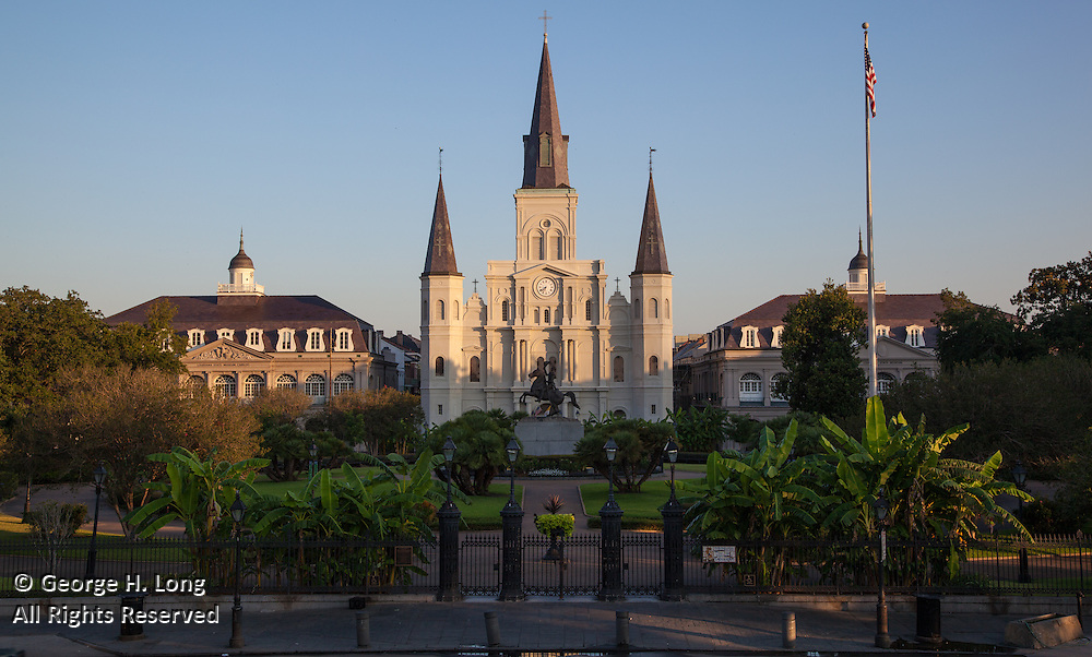 St. Louis Cathedral; Jackson Square, early morning