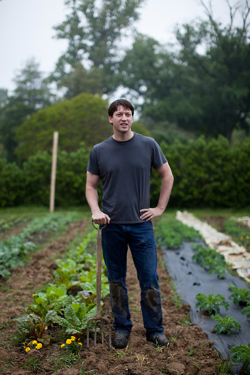 Michael Babin, founder of the farm at Woodlawn, poses for a portrait on May 14, 2011 in Alexandria, VA, U.S.A. Photo by Brendan Hoffman, Freelance