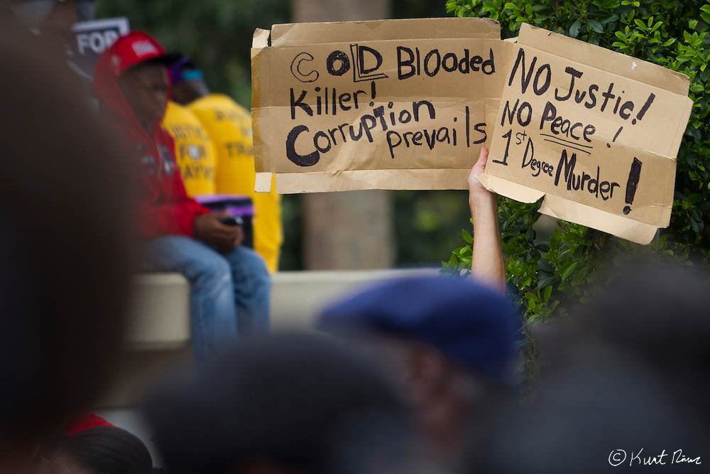 March 31, 2012 - Sanford, Florida, U.S. - A protestor holds a sign in the streets of Sanford, Florida for the justice of Treyvon Martin.