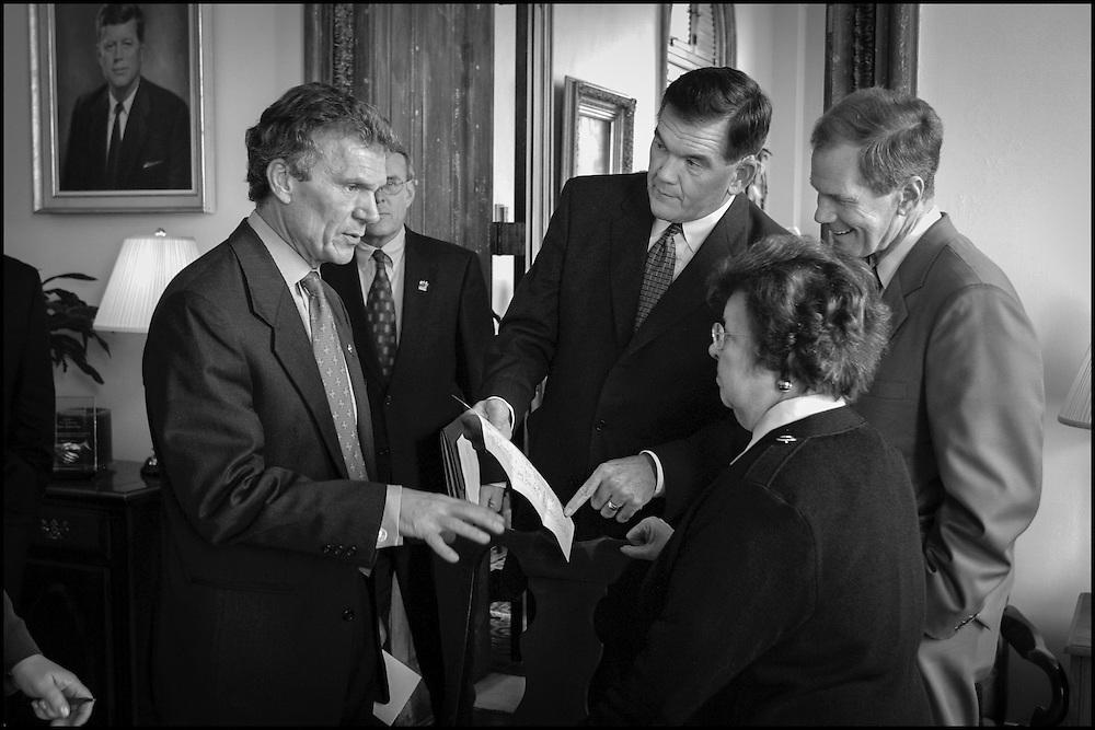 Senate Democratic Leaders including Senate Majority Leader Tom Daschle and Homeland Security Sec. Designate Tom Ridge meet in Daschle office's in the Capitol.  10/16/01..©PF BENTLEY/PFPIX.com