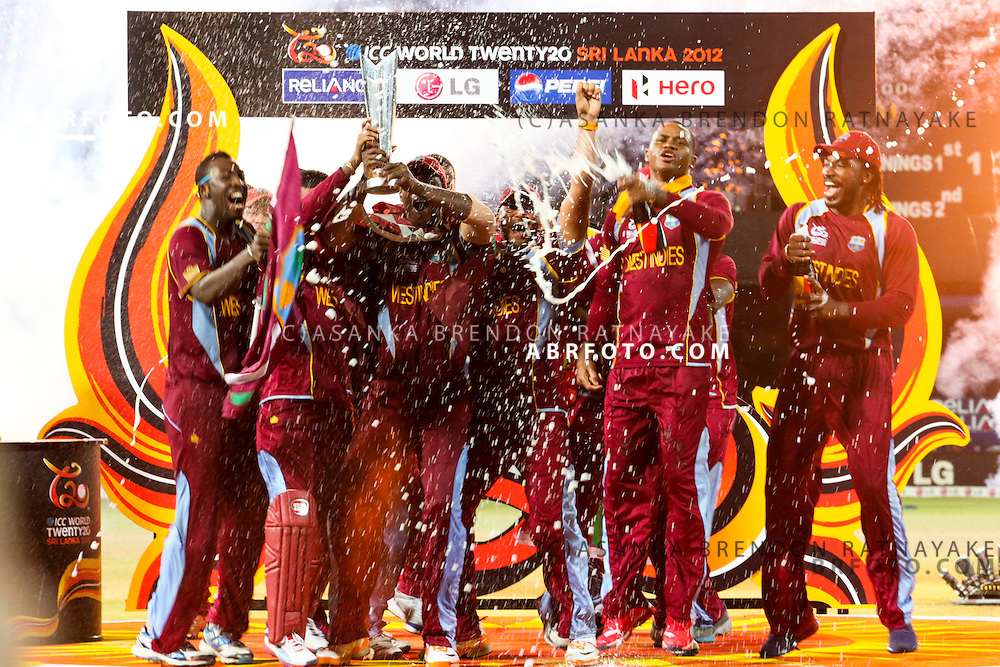 The West Indian team celebrate during the trophy presentation during the World T20 Cricket Mens Final match between Sri Lanka Vs West Indies at the R Premadasa International Cricket Stadium, Colombo. Photo credit : Asanka Brendon Ratnayake