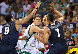 Bostjan Nachbar of Slovenia between Andre Iguoala of USA and Russel Westbrook of USA during to the Preliminary Round - Group B basketball match between National teams of USA and Slovenia at 2010 FIBA World Championships on August 29, 2010 at Abdi Ipekci Arena in Istanbul, Turkey.  (Photo by Vid Ponikvar / Sportida)
