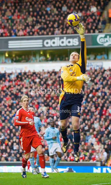 LIVERPOOL, ENGLAND - Sunday, February 22, 2009: Manchester City's Shay Given in action against Liverpool during the Premiership match at Anfield. (Mandatory credit: David Rawcliffe/Propaganda)