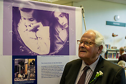 Edinburgh's Bailie Elaine Aitken opened Firrhill High School's 'The Anne Frank: A History For Today' exhibition  today. Baillie Aitken was joined by Heather Boyce from the Anne Frank Trust and second generation Holocaust survivors who spoke of their family members' memories of the war. The ceremony was attended by pupils from Firrhill High, local primary schools and retirement home residents from Old Farm Court and Caiystane Court. Pictured: Stephan Brent (85) was one of the 10,000 children which were sent to the UK as part of the Kindertransport. Stephan was 10 whne he arrived in the UK. 29 April 2014 (c) GER HARLEY | StockPix.eu