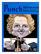 Punch Front Cover, 3rd October 1973 showing Education Minister Margaret Thatcher weighing the scales of Comprehensive and Grammar schools