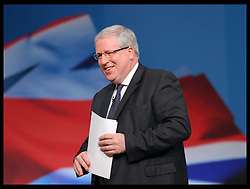 Transport Secretary Patrick McLoughlin gives speech  at the Conservative Party Conference hotel in Birmingham, Monday, 8th October 2012. Photo by: Stephen Lock / i-Images