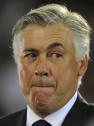 Real Madrid Manager, Carlo Ancelotti raises an eye brow - Photo mandatory by-line: Joe Meredith/JMP - Mobile: 07966 386802 12/08/2014 - SPORT - FOOTBALL - Cardiff - Cardiff City Stadium - Real Madrid v Sevilla - UEFA Super Cup