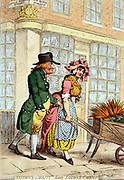 Sandwich-Carrots! Creator James Gillray, 1756-1815, engraver. Date Published, London 1796 Dec 3d. A buxom girl pushing a wheelbarrow of carrots along Bond Street, looking over her shoulder at an older man, possibly the son of John Montagu, 4th Earl of Sandwich, who is tugging at her apron. In the background is a bookstore exhibiting the royal arms. Displayed in the window are books with the titles 'A Chip of the old Block'; 'Doe Hunting an Ode by an old Buck Hound'; 'A List of servant Maids'; 'The Beauties of Bond Street'; and 'A Journey through Life--from Maddox Street unto Conduit Street & back again'.
