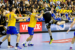 Isaias Guardiola #6 of Rhein-Neckar Lowen during handball match between RK Celje Pivovarna Lasko (SLO) vs Rhein-Neckar Lowen (GER) in 3rd Round of Group A of EHF Champions League 2013/14 on October 12, 2013 in Arena Zlatorog, Celje, Slovenia. (Photo By Urban Urbanc / Sportida)