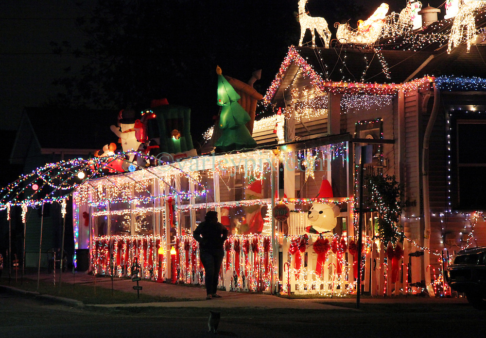 23 November 2012. New Orleans, Louisiana,  USA. .Black Friday. Christmas lights cover an Uptown home in New Orleans as post Thanksgiving cheer gives way to early Christmas celebrations..Photo; Charlie Varley.