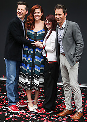 'Will & Grace' Start Of Production Kick Off Event And Ribbon Cutting Ceremony held at Universal City Plaza at Universal Studios on August 2, 2017 in Universal City, California. 02 Aug 2017 Pictured: Eric McCormack, Sean Hayes, Debra Messing, Megan Mullally. Photo credit: IPA/MEGA TheMegaAgency.com +1 888 505 6342