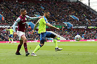 Aston Villa v Derby County - Sky Bet Championship<br /> BIRMINGHAM, ENGLAND - APRIL 28 :  bradley Johnson, of Derby County, is closed down by, Aston Villa's Conor Hourihane