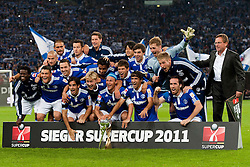23.07.2011, Veltins arena, Gelsenkirchen, GER, Supercup, FC Schalke 04 vs. Borussia Dortmund, im Bild Sieger Supercup 2011 FC Schalke 04 // during the match FC Schalke 04 vs. Borussia Dortmund at Veltins arena 2011/07/23    EXPA Pictures © 2011, PhotoCredit: EXPA/ nph/  Kurth       ****** out of GER / CRO  / BEL ******