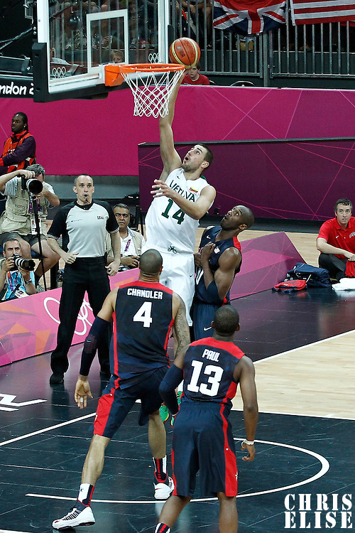04 August 2012: Lithuania Jonas Valanciunas goes for the layup during 99-94 Team USA victory over Team Lithuania, during the men's basketball preliminary, at the Basketball Arena, in London, Great Britain.