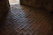 Brick floor in Saint Basil's Cathedral in Red Square. It consists of nine intimate chapels built from 1555 to 1561. Moscow, Russia, 2007