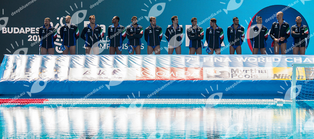 Team Italy ITA <br /> FRA (white cap) -  ITA (blue cap)<br /> Preliminary Round Water Polo Men<br /> Day04  17/07/2017 <br /> XVII FINA World Championships Aquatics<br /> Alfred Hajos Complex Margaret Island  <br /> Budapest Hungary <br /> Photo @ Deepbluemedia/Insidefoto