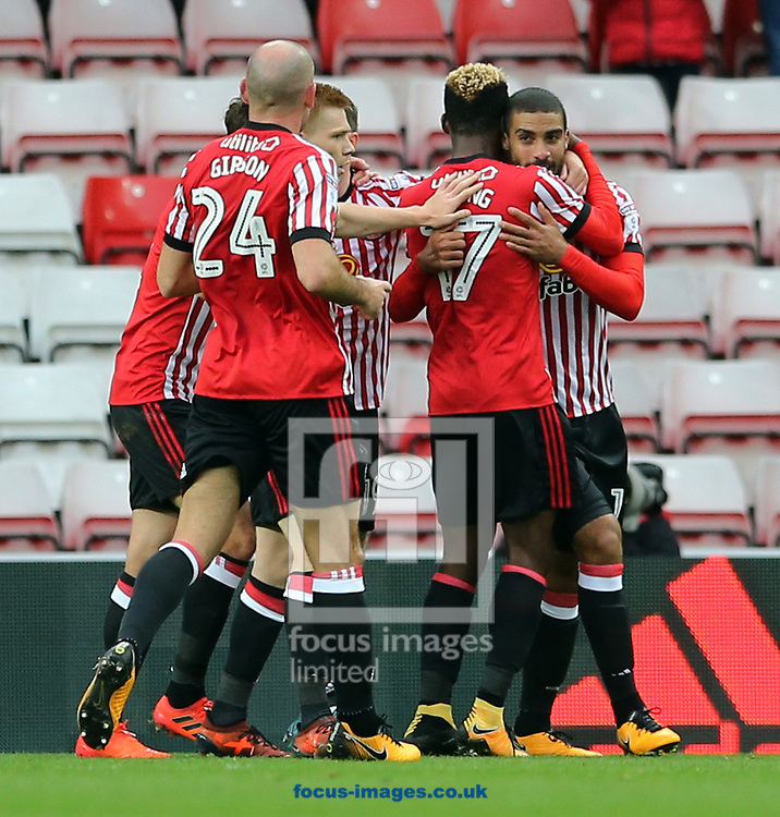 Sunderland celebrate scoring to make it 1-1 during the Sky Bet Championship match at the Stadium Of Light, Sunderland<br /> Picture by Simon Moore/Focus Images Ltd 07807 671782<br /> 28/10/2017