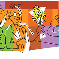 Cartoon of people with gifts for woman