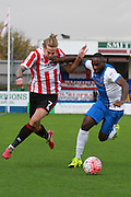 Harry Pell and  Kudus Oyenuga during the The FA Cup match between Hartlepool United and Cheltenham Town at Victoria Park, Hartlepool, England on 7 November 2015. Photo by Antony Thompson.