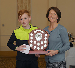 Westport Athletic Club Awards David Marrey accecpted the Young Athlete of the Year  Award from Edel McAllister<br /> Pic Conor McKeown