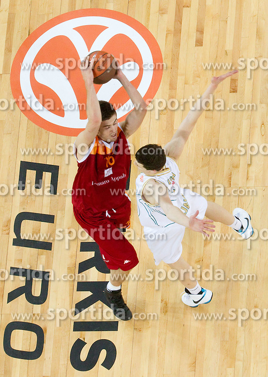 Nemanja Gordic of Lottomatica vs Vlado Ilievski  of Olimpija during basketball match between KK Union Olimpija (SLO) and Lottomatica Roma (ITA) in Group F of Top 16 Turkish Airlines Euroleague, on February 23, 2011 in Arena Stozice, Ljubljana, Slovenia. Lottomatica defeated 87-76. (Photo By Vid Ponikvar / Sportida.com)