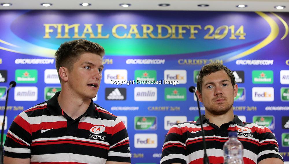 Saracens Press Conference, Millennium Stadium, Cardiff, Wales 23/5/2014<br /> Saracens' Owen Farrell and Alex Goode<br /> Mandatory Credit &copy;INPHO/Dan Sheridan