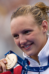 Katinka Hosszu of Hungary receives the gold medal during the medal ceremony for the Women's 400m Individual Medley Final during the 13th FINA World Championships Roma 2009, on August 2, 2009, at the Stadio del Nuoto,  in Foro Italico, Rome, Italy. (Photo by Vid Ponikvar / Sportida)