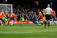 Luke Wilkinson of Luton Town (30) scores the opening goal against Newport County during the Sky Bet League 2 match at Kenilworth Road, Luton<br /> Picture by David Horn/Focus Images Ltd +44 7545 970036<br /> 20/12/2014