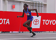 Athing Mu sets a American record of 1:23.57 in the 600m during the USA Indoor Track and Field Championships in Staten Island, NY, Sunday, Feb 24, 2019. (Rich Graessle/Image of Sport)