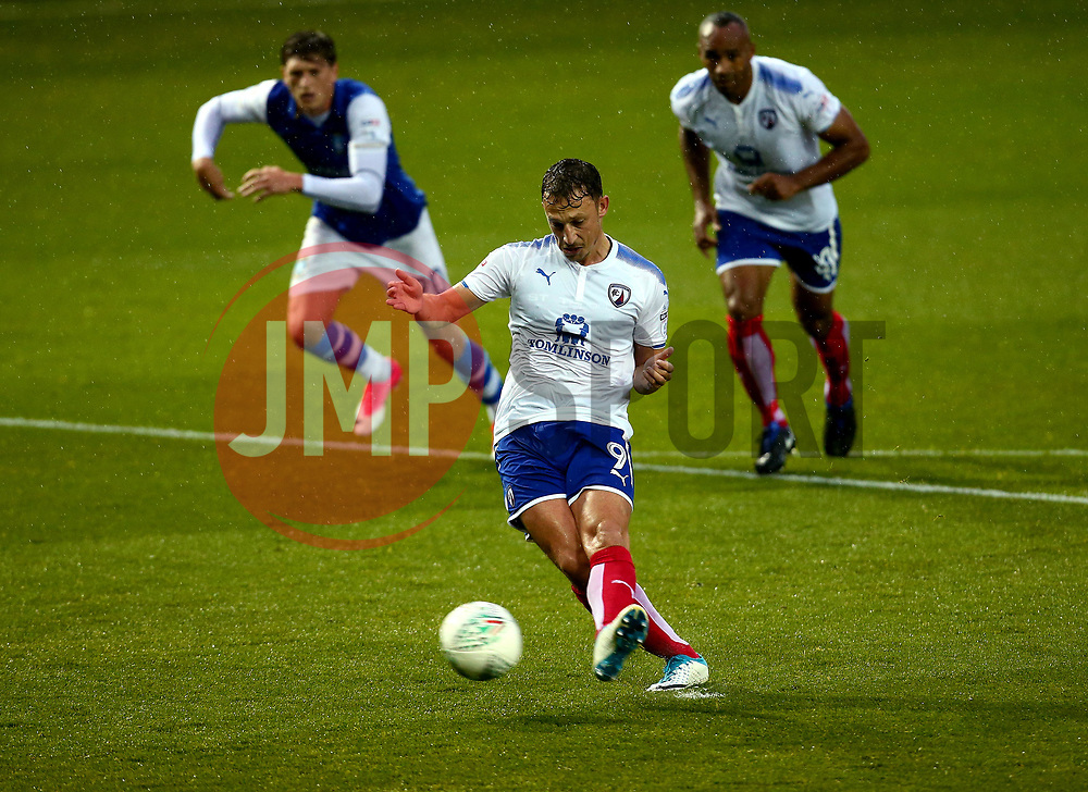 Kristian Dennis of Chesterfield scores a goal from the penalty spot too make it 0-1 - Mandatory by-line: Robbie Stephenson/JMP - 08/08/2017 - FOOTBALL - Hillsborough - Sheffield, England - Sheffield Wednesday v Chesterfield - Carabao Cup