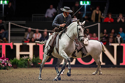Riders of the Royal Andalusian School of Equestrian Art perform in the United Kingdom for the first time in 40 years at the<br /> Reem Acra FEI World Cup Dressage <br /> London International Horse Show Olympia 2013<br /> © Hippo Foto - Jon Stroud