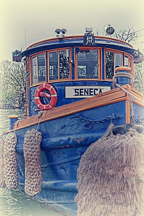 "Antique style image of the ""Seneca"" tugboat"