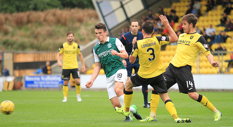 Livingston v Hibernian Scottish Championship 19 September 2015; Hibernian's John McGinn is stopped in his tracks during the Livingston v Hibernian Ladbrokes Championship match played at Almondvale Stadium, Livingston;