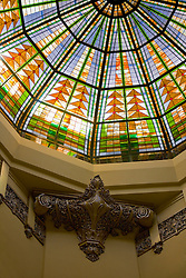 Stock photo of the interior stained glass dome in Houston's Historic 1910 Courthouse